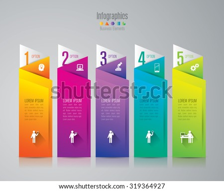 Infographic design template and marketing icons, Business concept with 5 options, parts, steps or processes. Can be used for workflow layout, diagram, number options, web design.    - stock vector