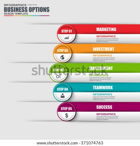 Infographic design template and marketing icons. Business concept with 5 options, parts, steps or processes. Can be used for workflow layout, diagram, number options, web design. - stock vector
