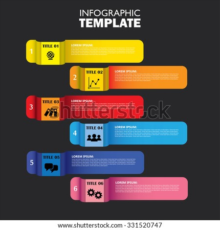 infographic design template and marketing vector icons on black. this business concept has 6 options, choices, steps or processes and can be used for workflow layout, diagram, number options - stock vector