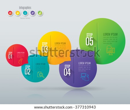 Infographic design template, business infographic and icons, vector infographic. Infographics stock can be used for workflow layout, diagram, number options, web design. Business concept 5 options. - stock vector