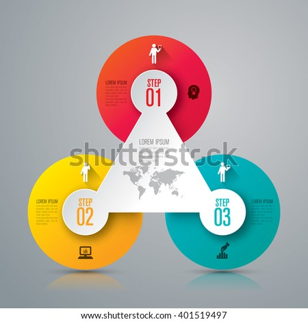 Infographic design template, business infographic and icons, vector infographic. Infographics stock can be used for workflow layout, diagram, number options, web design. Business concept 3 options. - stock vector