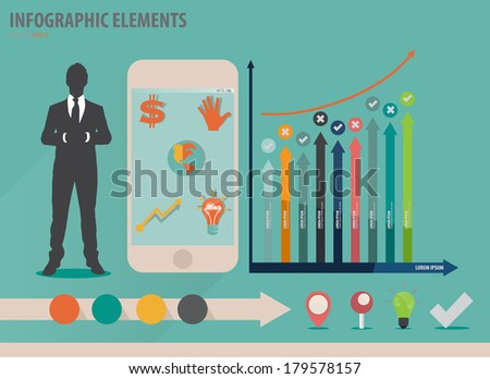 Infographic design template - businessman showing touchscreen device with colorful infographics paper template, vector illustration - stock vector