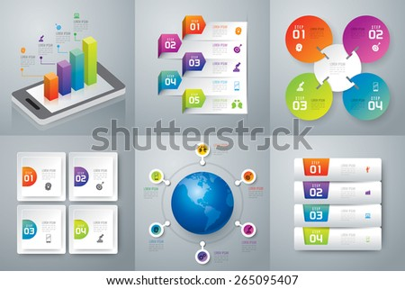 Infographic design template can be used for workflow layout, diagram, number options, web design. Business concept with 4, 5 options, parts, steps or processes. Abstract background. - stock vector