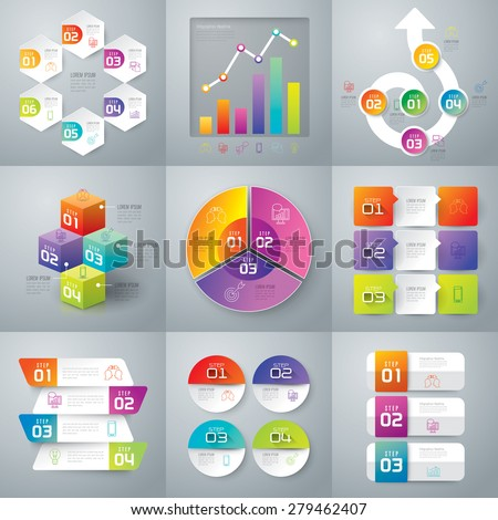 Infographic design template can be used for workflow layout, diagram, number options, web design. Business concept with 3, 4, 5, 6 options, parts, steps or processes. Abstract background. - stock vector
