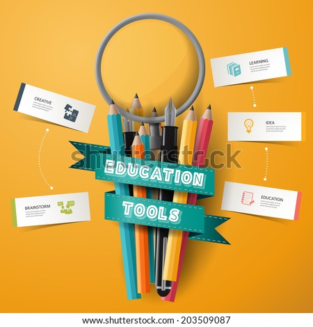 infographic Design template Colorful pencil crayons and pen and magnifier with ribbon, vector illustration.  - stock vector