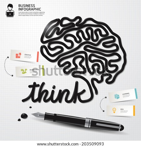 Infographic Design template minimal style Business Ink shaped brain thinking on paper. Vector illustration.  - stock vector
