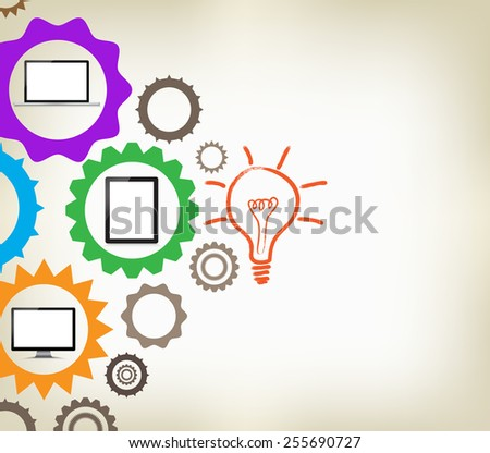 Infographic design template with gear chain background - stock vector