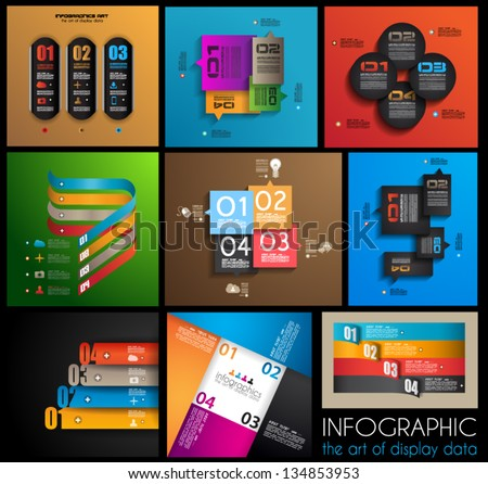 Infographic design templates collection with paper tags. Idea to display information, ranking and statistics with orginal and modern style. 9 pieces. - stock vector