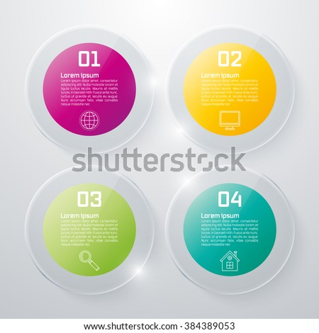 Infographic design white circles on the grey background. Eps 10 vector file. - stock vector