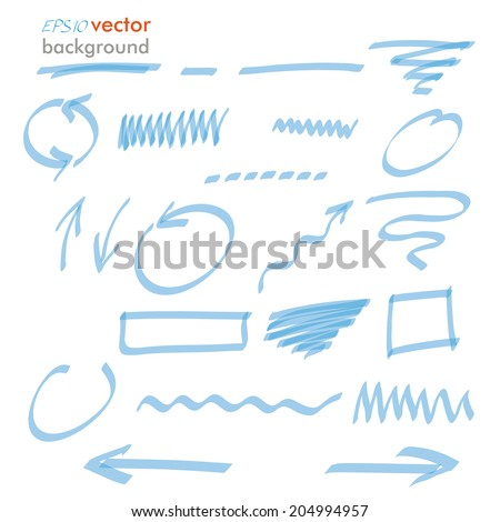 Infographic design with blue highlighter elements on the white background. Eps 10 vector file. - stock vector