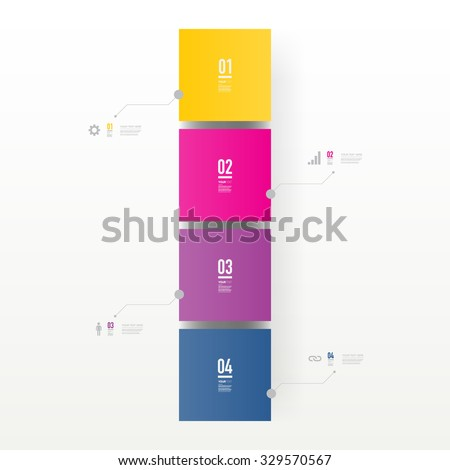 Infographic design with realistic 3d boxes on simple background with numbers and text  Eps 10 stock vector illustration  - stock vector