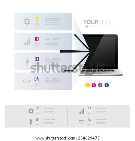 Infographic design with realistic 3d laptop computer can be used for workflow layout, diagram, chart, number options, web design.  Eps 10 stock vector illustration  - stock vector