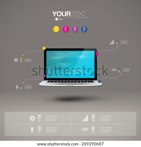 Infographic design with realistic 3d laptop computer with blue sky wallpaper on screen can be used for workflow layout, diagram, chart, number options, web design.  Eps 10 stock vector illustration  - stock vector