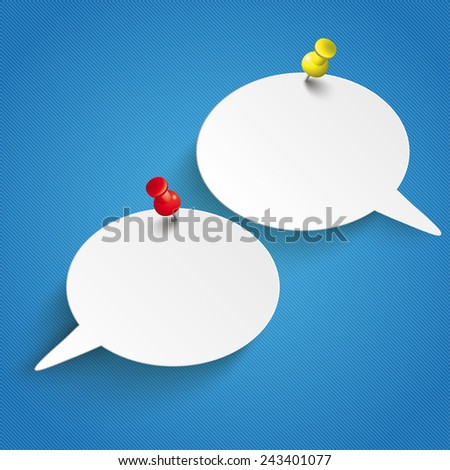 Infographic design with 2 speech bubbles and pins on the blue background. Eps 10 vector file. - stock vector