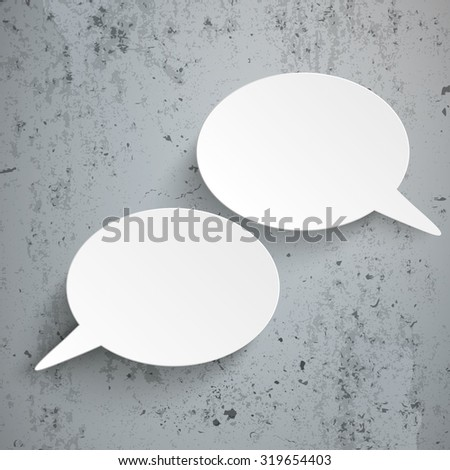 Infographic design with 2 speech bubbles and pins on the concrete background. Eps 10 vector file. - stock vector