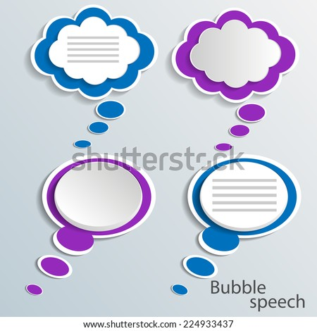 Infographic design with white communication bubbles on the grey background - stock vector