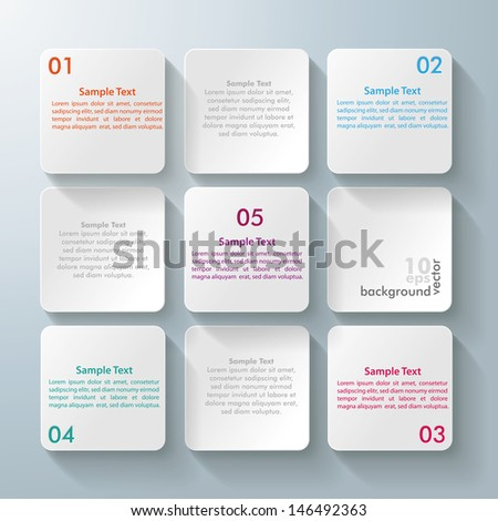 Infographic design with white rectangle squares on the grey background. Eps 10 vector file. - stock vector