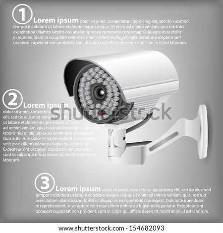 Infographic Diagram of CCTV Security Camera, Vector Illustration EPS 10, For Business and Technology Concept. - stock vector