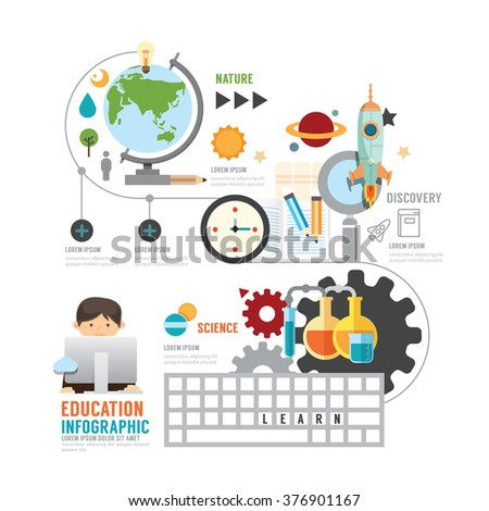 Infographic education child learning technology concept with icons vector - stock vector