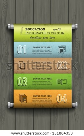 Infographic Education / convolutions with options for data presentation - stock vector