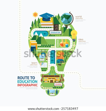 Infographic education light bulb shape template design.learn concept vector illustration / graphic or web design layout. - stock vector
