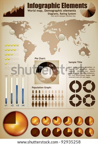 Infographic elements. A wold map with placeholders, demographic elements, charts, diagrams - stock vector