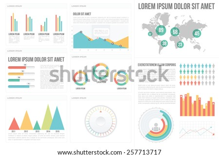 Infographic Elements Collection - Big set of Infographics. - stock vector