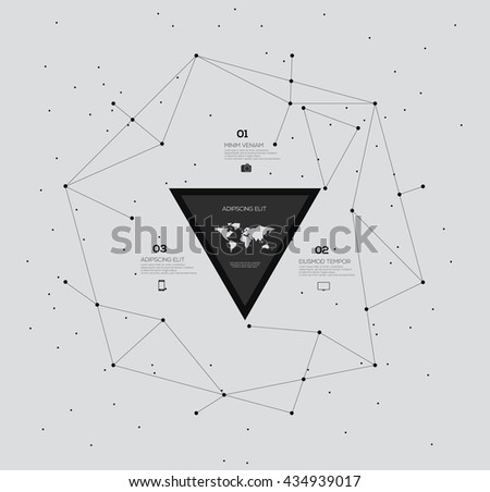 Infographic elements Connection with connected lines and dots with world map - stock vector