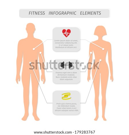 Infographic elements for fitness sports and healthcare achievement measure and report vector illustration - stock vector