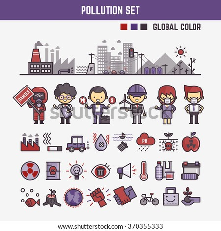 infographic elements for kids about pollution  including characters and icons - stock vector