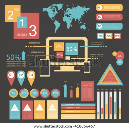 infographic elements for mobile and computer / info graphic computer elements - stock vector