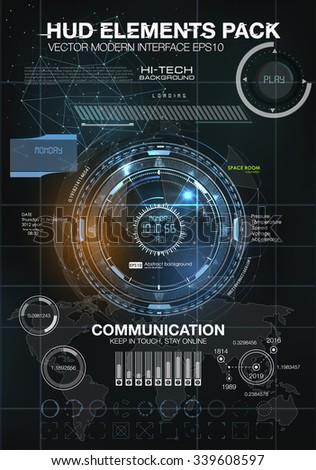 infographic elements. futuristic user interface HUD. Mobile application HUD interface design. Infographic elements for projects. Space galaxy futuristic user interface HUD UI UX science background - stock vector