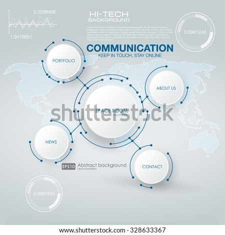 Infographic elements. futuristic user interface HUD UI UX. Abstract background with connecting dots and lines. Connection structure.  Abstract molecules circle and blank space for your content. - stock vector