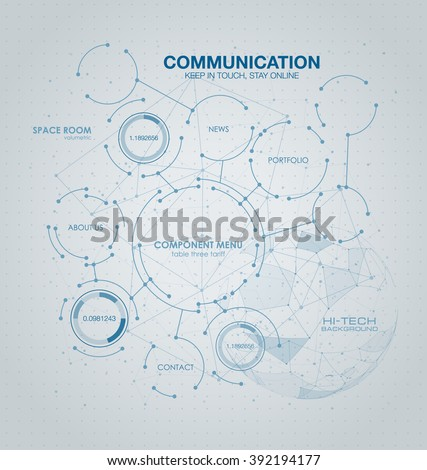 Infographic elements. futuristic user interface HUD UI UX. Wireframe mesh broken polygonal element. Sphere with connected lines and dots. Connection Structure. - stock vector