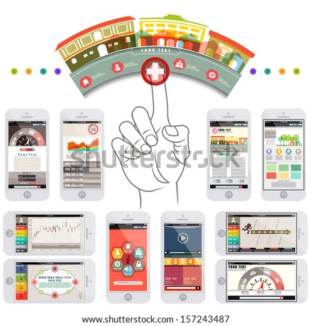 Infographic elements in smartphone, UI design, template,web, design, illustrator vector - stock vector