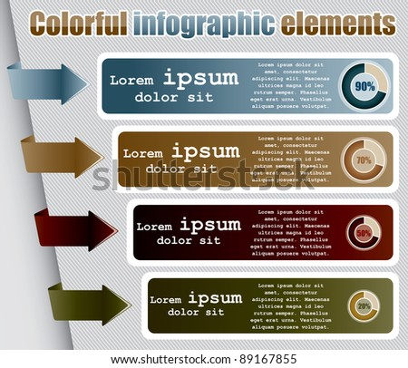 Infographic elements in vintage color style in vector format - stock vector