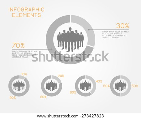 infographic elements pie chart statistics teamwork businessman people professional vector template - stock vector