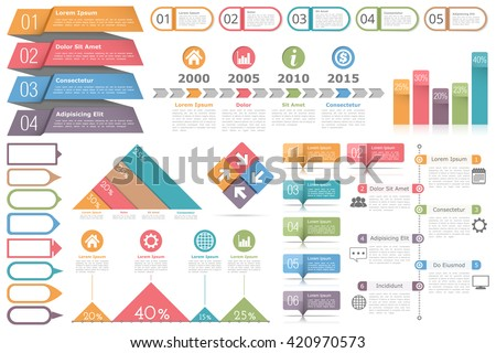 Infographic elements set - objects for text and numbers or icons, timeline, process diagram, bar chart, percents graphs, vector eps10 illustration - stock vector