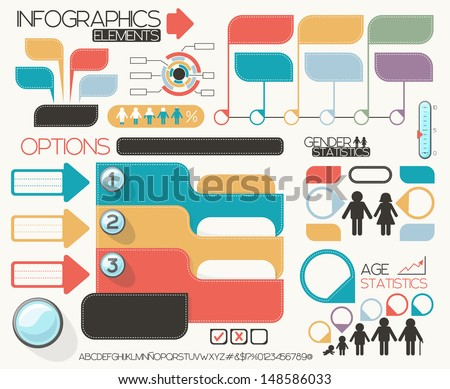 infographic elements set, vector format very easy to edit, individual objects, no gradients, only solid colors, custom typography created by my - stock vector