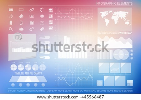 infographic elements, web technology icons. vector economy timeline graph, reminder, clock symbol. pie chart info graphic icon. financial statistic and marketing report presentation banner design - stock vector