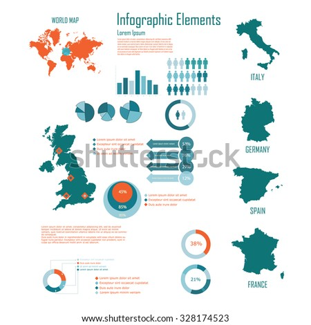 Infographic Elements with Uk and Europe vector illustration - stock vector