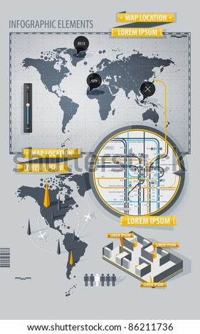 Infographic Elements with world map and a map of the subway - stock vector