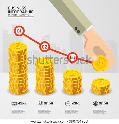infographic Falling price for Golden Dollar Coins business falling concept. price dollar Falling. business concept. gold coins money stack. - stock vector