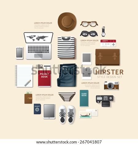 Infographic fashion design flat lay idea. Vector illustration hipster concept.can be used for layout, advertising and web design. - stock vector