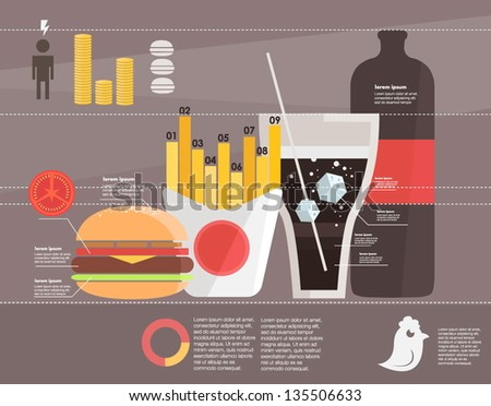 infographic. fast food - stock vector