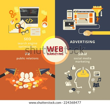 Infographic flat conceptual process illustration of web marketing and pr,  web design, advertising design, seo optimization and smm internet technologies - stock vector