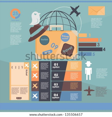 infographic. flights. vacation - stock vector