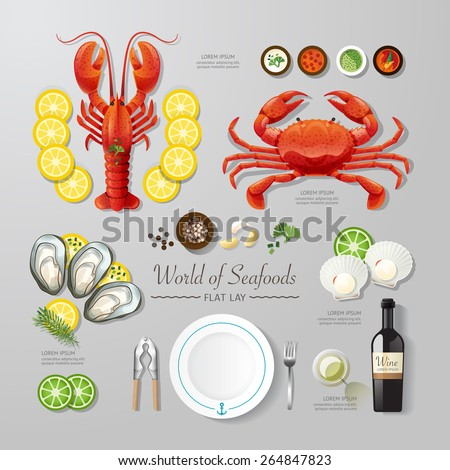 Infographic food business seafood flat lay idea. Vector illustration hipster concept.can be used for layout, advertising and web design. - stock vector