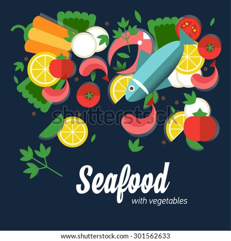 Infographic food business seafood flat lay idea. Vector illustration hipster concept.can be used for layout, advertising and web design. Seafood design set.  Seafood menu for restaurant. - stock vector