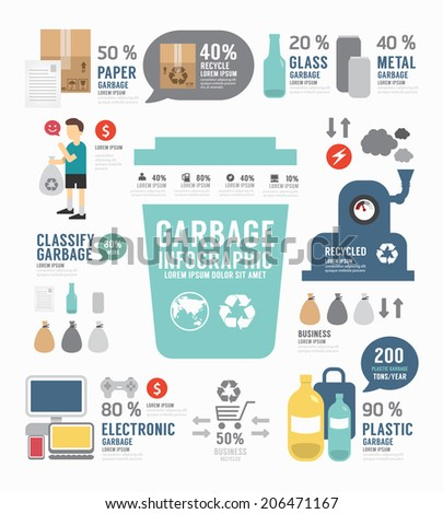Infographic garbage annual report template design . concept vector illustration - stock vector